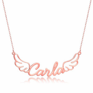 Personalized Women's Angel Wings Name Necklace Gold / S15