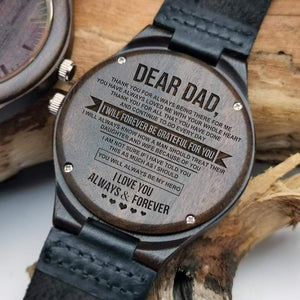 Son To Dad-Forever Be Grateful For You Engraved Wooden Watch W1306