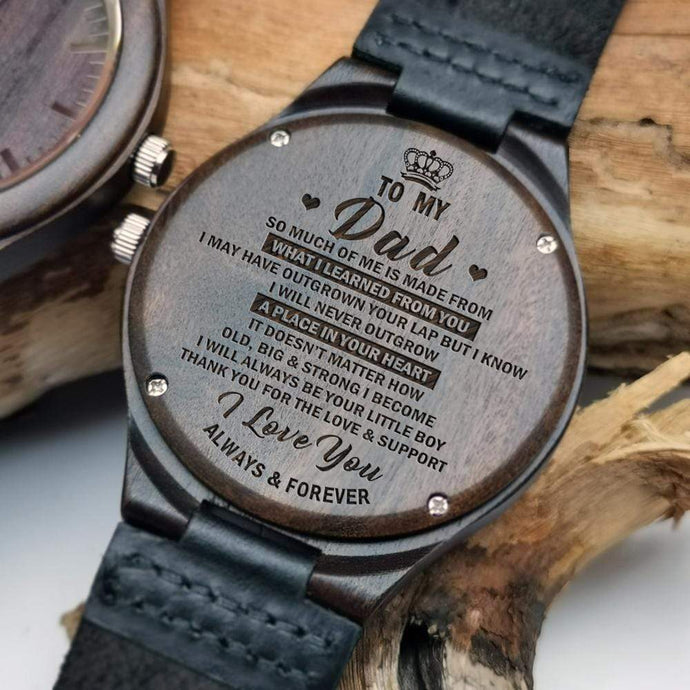 Son To Dad-Love You Always and Forever Engraved Wooden Watch W1301