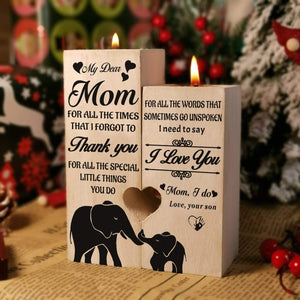 Son To Mom-I love You Engraved Solid Oak Wood Candle Holder 20