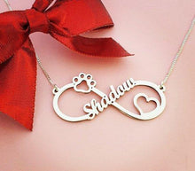 Load image into Gallery viewer, Sterling Silver Pet Lover Infinity Necklace, Paw Print Heart Pendant Gold / Child