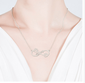Sterling Silver Pet Lover Infinity Necklace, Paw Print Heart Pendant Silver / Child