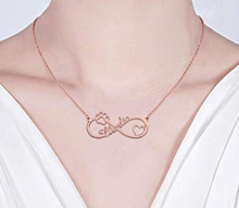 Load image into Gallery viewer, Sterling Silver Pet Lover Infinity Necklace, Paw Print Heart Pendant Rose God / Child