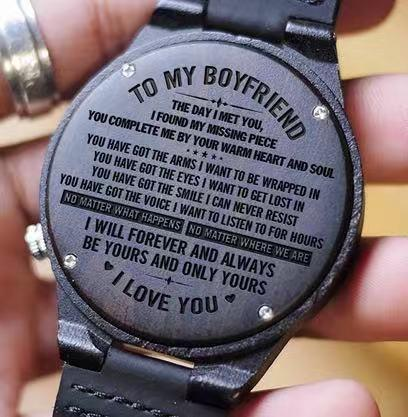 To Boyfriend- Be Yours and Only Yours Engraved Wooden Watch Blue Second