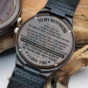 To Boyfriend- Be Yours and Only Yours Engraved Wooden Watch W1201
