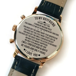 To Boyfriend- Be Yours And Only Yours Metal Engraved Wrist Watch K4702