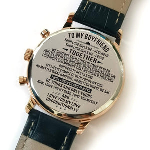 To Boyfriend- Forever And Always Be Yours Metal Engraved Wrist Watch K4701