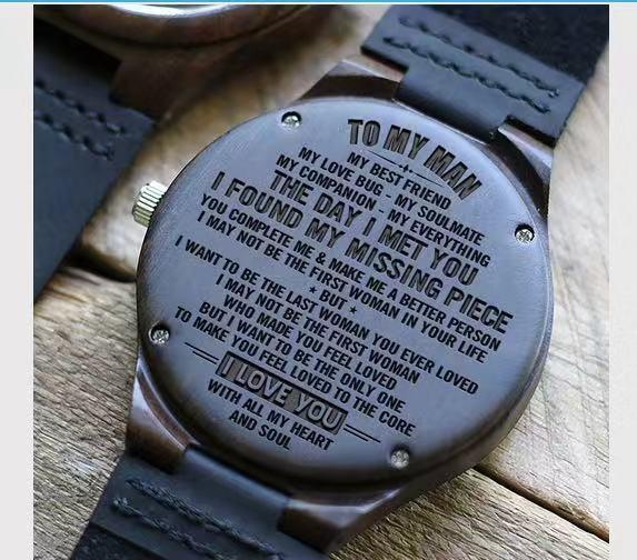 To Boyfriend- My Missing Piece Engraved Wooden Watch Blue Second