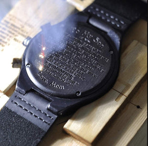 To Boyfriend- The Day I Met You Engraved Wooden Watch