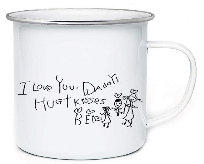 To Dad-Personalized Kids Drawing Enamel Coffee Mug