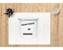 Load image into Gallery viewer, To Dad-Personalized Kids Drawing Enamel Coffee Mug
