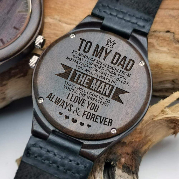 To Dad-The Man Engraved Wooden Watch W1320
