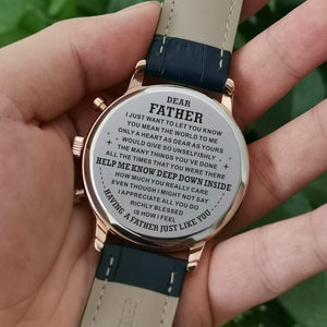 To Dad-You Mean The World To Me Engraved Casual Quartz Wrist Watch