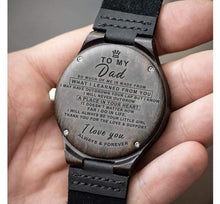 Load image into Gallery viewer, To Dad- Your Little Girl Engraved Wooden Watch Your Little Girl