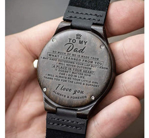 To Dad- Your Little Girl Engraved Wooden Watch Your Little Girl