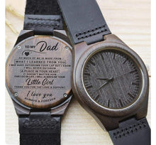 Load image into Gallery viewer, To Dad- Your Little Girl Engraved Wooden Watch You Little Girl With Heart