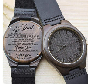 To Dad- Your Little Girl Engraved Wooden Watch You Little Girl With Heart