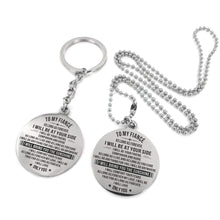 Load image into Gallery viewer, To Fiance-I Will Bring You The Sunshine Engraved Necklace and Key Chain Keychain Necklace Set