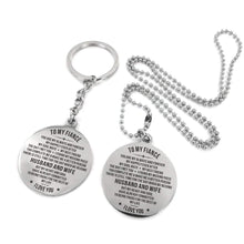Load image into Gallery viewer, To Fiance-To The Rest Of My life Engraved Necklace and Key Chain Keychain Necklace Set