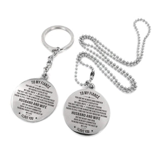 To Fiance-To The Rest Of My life Engraved Necklace and Key Chain Keychain Necklace Set