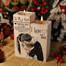 Load image into Gallery viewer, To Girlfriend/ Wife-I love You Engraved Solid Oak Wood Candle Holder 08