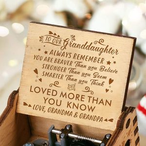 To Grand Daughter-Love You More Than You Know Engraved Wooden Music Box  MB025