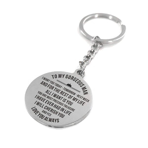 To Husband-All I Want Is You Engraved Necklace and Key Chain Keychain