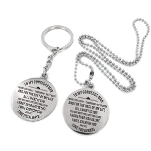 To Husband-All I Want Is You Engraved Necklace and Key Chain Keychain Necklace Set