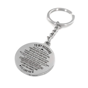 To Husband-Find You Soon and Love You Longer Engraved Necklace and Key Chain Keychain
