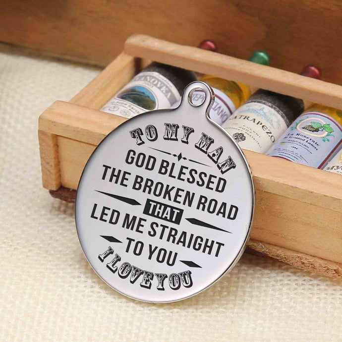 To Husband-God Led Me Straight To You Engraved Necklace and Key Chain Keychain