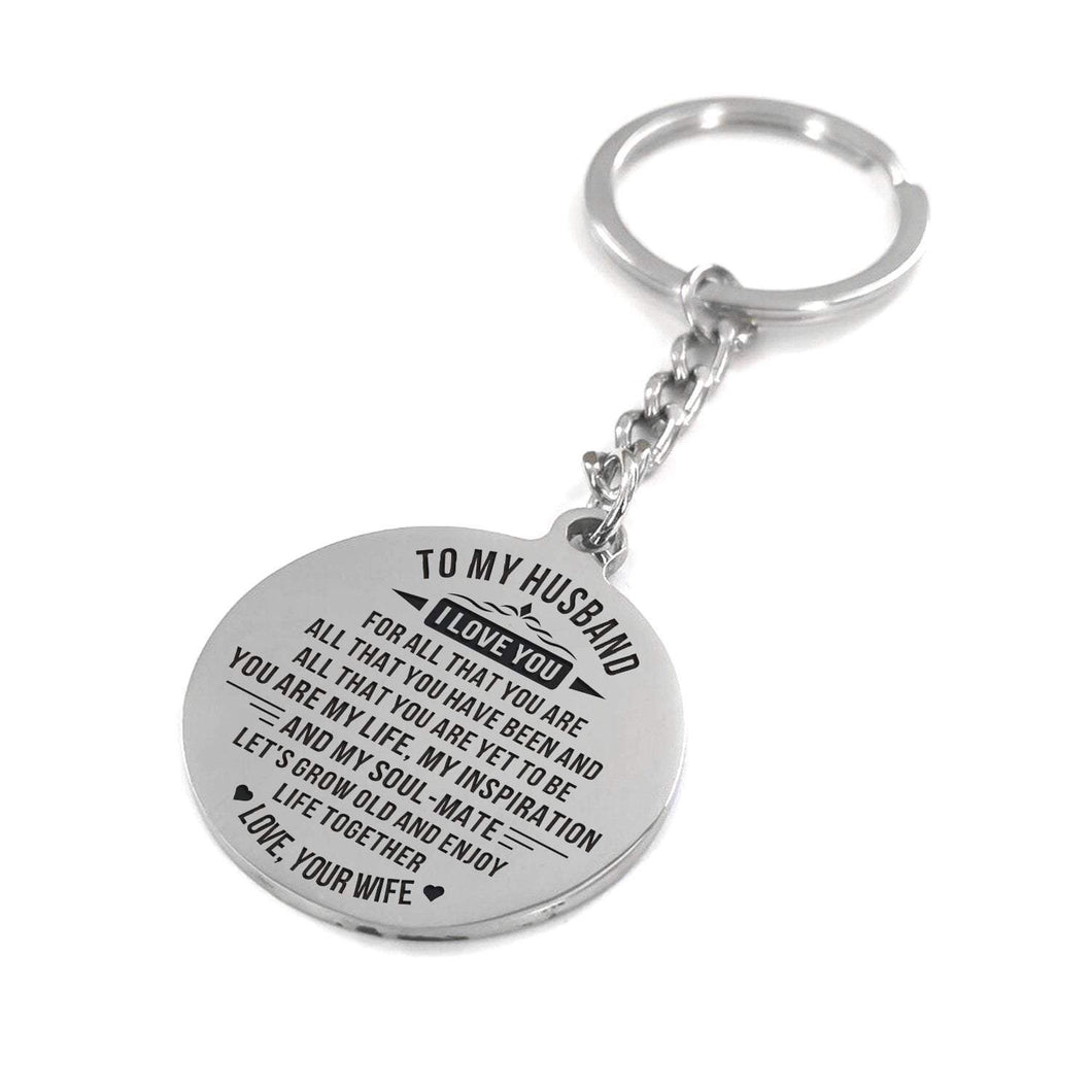 To Husband-Grow Older And Enjoy Life Together Engraved Necklace and Key Chain Keychain