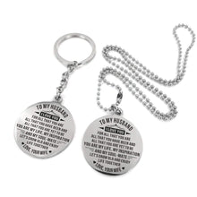 Load image into Gallery viewer, To Husband-Grow Older And Enjoy Life Together Engraved Necklace and Key Chain Keychain Necklace Set