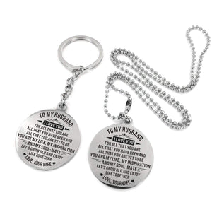 To Husband-Grow Older And Enjoy Life Together Engraved Necklace and Key Chain Keychain Necklace Set