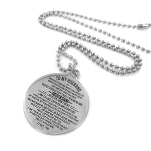 To Husband-How Lucky I am Engraved Necklace and Key Chain Necklace