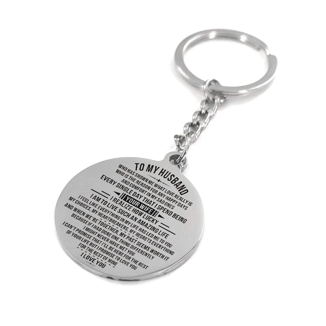 To Husband-How Lucky I am Engraved Necklace and Key Chain Keychain