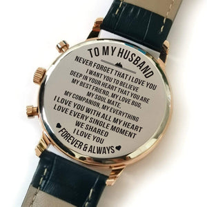 To Husband-I Love You With All My Heart Metal Engraved Wrist Watch