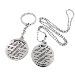 To Husband-I Would Always Choose You Engraved Necklace and Key Chain Keychain Necklace Set