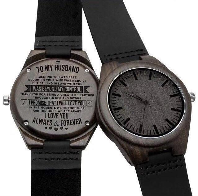To Husband- Love you Engraved Wooden Watch Love You Always and Forever