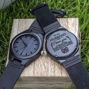 To Husband- Love You Engraved Wooden Watch Love You