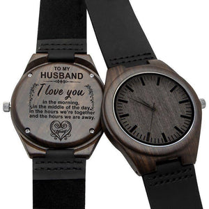 To Husband- Love You Engraved Wooden Watch
