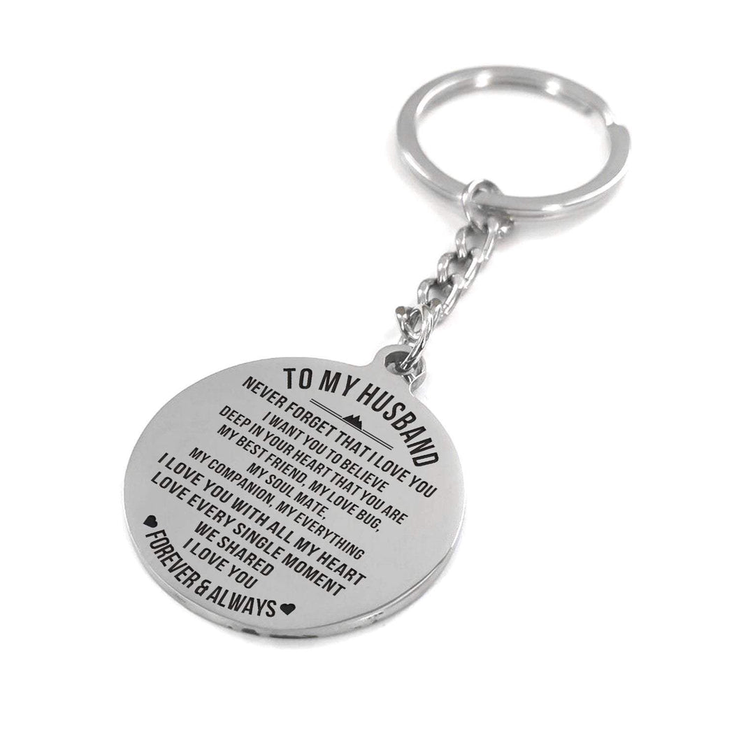 To Husband-Love You With All My Heart Engraved Necklace and Key Chain Keychain