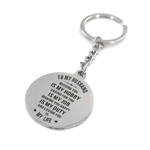 To Husband-Loving You Is My Life Engraved Necklace and Key Chain Keychain