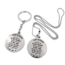 Load image into Gallery viewer, To Husband-Loving You Is My Life Engraved Necklace and Key Chain Keychain Necklace Set