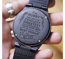 Load image into Gallery viewer, To Husband- My Life and Partner Engraved Wooden Watch Best Friend and Life