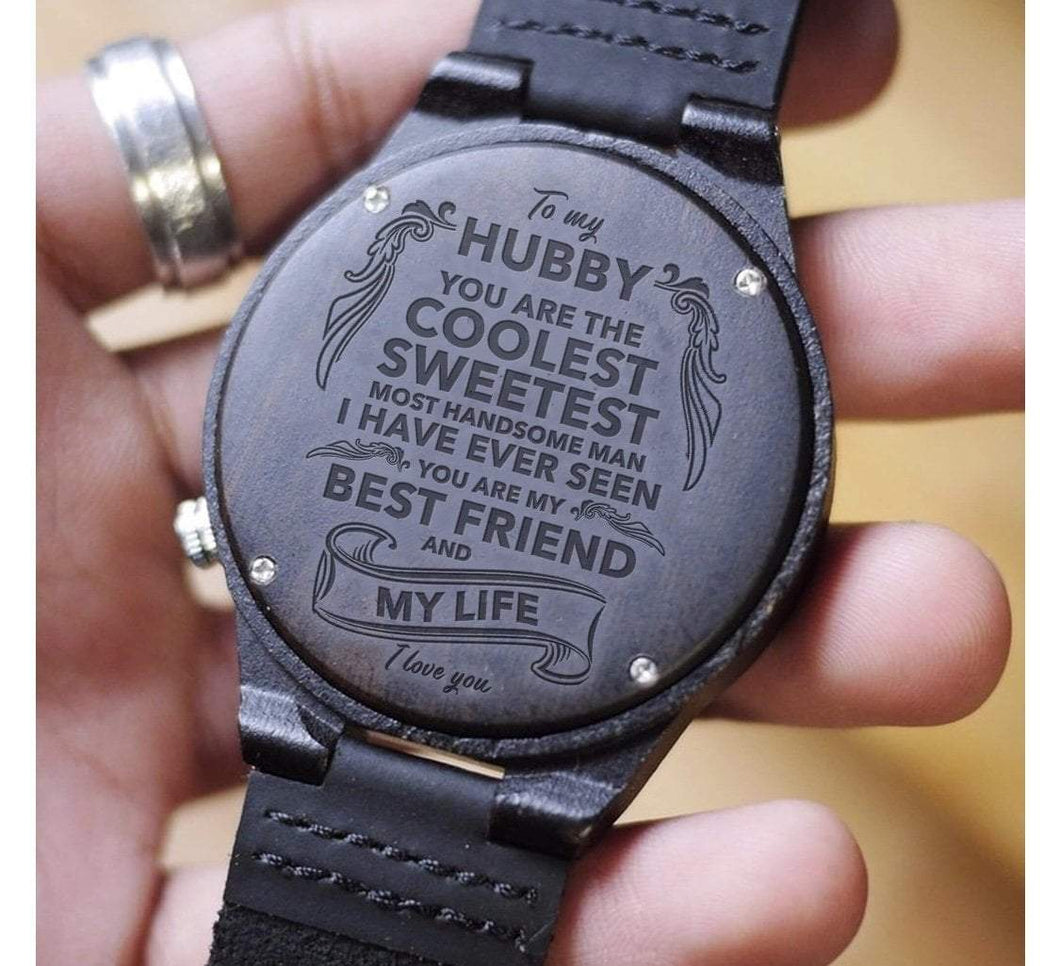 To Husband- My Life and Partner Engraved Wooden Watch Best Friend and Life