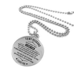 To Husband-My Soulmate My Everything Engraved Necklace and Key Chain Necklace