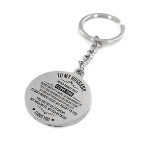 To Husband-My Soulmate My Everything Engraved Necklace and Key Chain Keychain