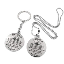 Load image into Gallery viewer, To Husband-My Soulmate My Everything Engraved Necklace and Key Chain Keychain Necklace Set