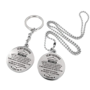 To Husband-My Soulmate My Everything Engraved Necklace and Key Chain Keychain Necklace Set