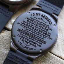 Load image into Gallery viewer, To Husband- Sooner and Longer Engraved Wooden Watch Sooner and Longer